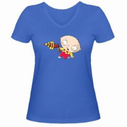 Женская футболка с V-образным вырезом Стьюи с бластером - FatLine