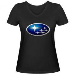 Женская футболка с V-образным вырезом Subaru 3D Logo - FatLine
