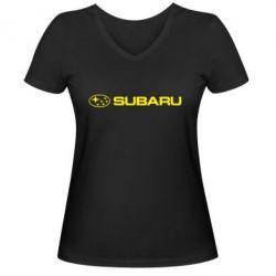 Женская футболка с V-образным вырезом Subaru logo - FatLine