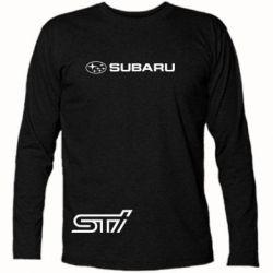 Футболка с длинным рукавом Subaru STI лого - FatLine