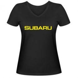 Женская футболка с V-образным вырезом Subaru - FatLine