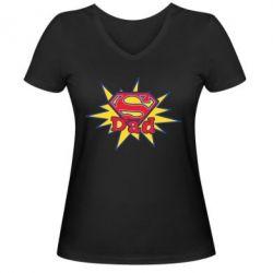 Женская футболка с V-образным вырезом Super Dad - FatLine