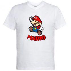 Мужская футболка  с V-образным вырезом Супер Марио - FatLine