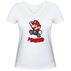 Женская футболка с V-образным вырезом Супер Марио - FatLine