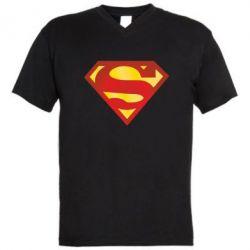 Мужская футболка  с V-образным вырезом Superman Classic - FatLine
