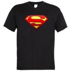 Мужская футболка  с V-образным вырезом Superman Logo - FatLine