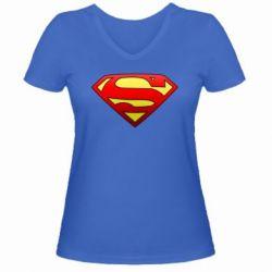 Женская футболка с V-образным вырезом Superman Logo - FatLine
