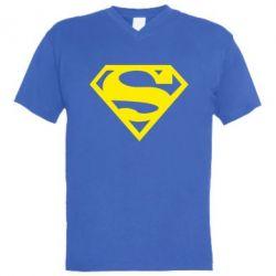 Мужская футболка  с V-образным вырезом Superman одноцветный - FatLine