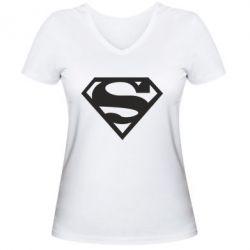 Женская футболка с V-образным вырезом Superman одноцветный - FatLine