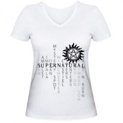 Женская футболка с V-образным вырезом Supernatural Art