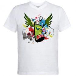 Мужская футболка  с V-образным вырезом Суровый баллончик)