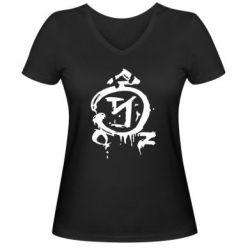 Женская футболка с V-образным вырезом Сверхъестественное логотип - FatLine