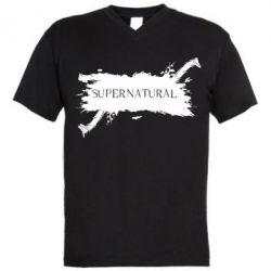Мужская футболка  с V-образным вырезом Сверхъестественное - FatLine
