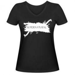 Женская футболка с V-образным вырезом Сверхъестественное - FatLine