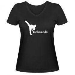Женская футболка с V-образным вырезом Taekwondo - FatLine