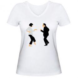 Женская футболка с V-образным вырезом Танец Криминальное Чтиво - FatLine