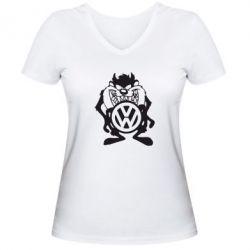 Женская футболка с V-образным вырезом Тасманский дьявол Volkswagen - FatLine