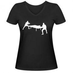 Женская футболка с V-образным вырезом Теннисный стол - FatLine