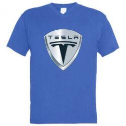 Мужская футболка  с V-образным вырезом Tesla Corp - FatLine