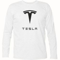 Футболка с длинным рукавом Tesla Logo - FatLine