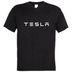 Мужская футболка  с V-образным вырезом Тесла