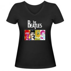 Женская футболка с V-образным вырезом The Beatles Logo - FatLine