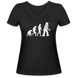 Женская футболка с V-образным вырезом The Bing Bang theory Evolution - FatLine