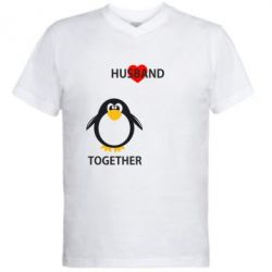 Мужская футболка  с V-образным вырезом Together forever2 - FatLine