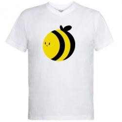 Мужская футболка  с V-образным вырезом толстая пчелка - FatLine