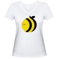 Женская футболка с V-образным вырезом толстая пчелка - FatLine