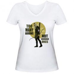 Женская футболка с V-образным вырезом Too many arrows, not enought orcs - FatLine