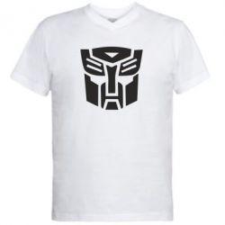 Мужская футболка  с V-образным вырезом Трансформеры Автоботы - FatLine