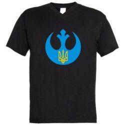 Мужская футболка  с V-образным вырезом Трезубец - FatLine