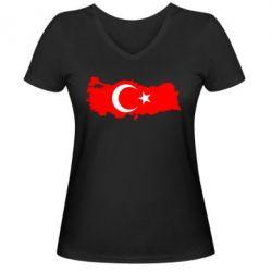 Женская футболка с V-образным вырезом Turkey - FatLine