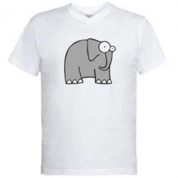 Мужская футболка  с V-образным вырезом удивленный слон - FatLine