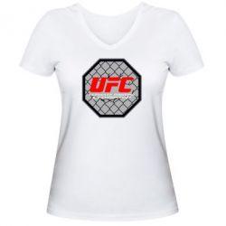 Женская футболка с V-образным вырезом UFC Cage - FatLine