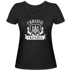 Женская футболка с V-образным вырезом Україна ненька - FatLine