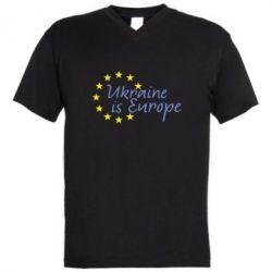 Мужская футболка  с V-образным вырезом Ukraine in Europe - FatLine