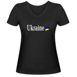 Женская футболка с V-образным вырезом Ukraine - FatLine