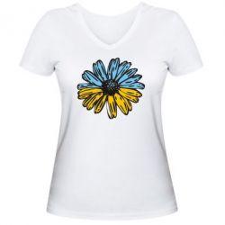 Женская футболка с V-образным вырезом Українська квітка - FatLine