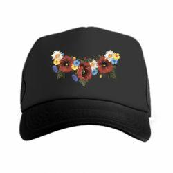 Кепка-тракер Украинские цветы - FatLine