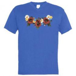 Мужская футболка  с V-образным вырезом Украинские цветы - FatLine