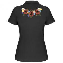 Женская футболка поло Украинские цветы - FatLine
