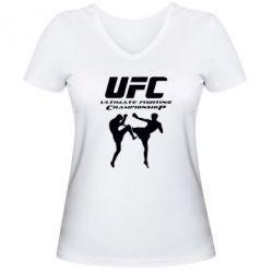 Женская футболка с V-образным вырезом Ultimate Fighting Championship - FatLine