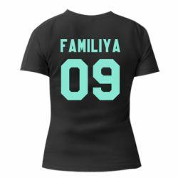 Женская футболка с V-образным вырезом Ваша фамилия и номер - FatLine