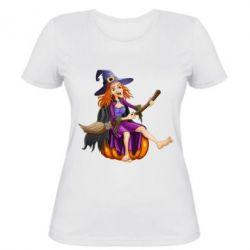 Женская футболка Ведьма верхом на метле - FatLine
