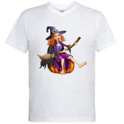 Мужская футболка  с V-образным вырезом Ведьма верхом на метле - FatLine