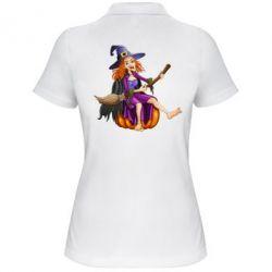 Женская футболка поло Ведьма верхом на метле - FatLine