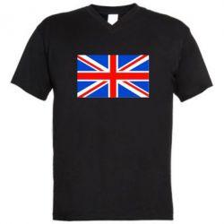 Мужская футболка  с V-образным вырезом Великобритания - FatLine
