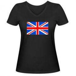 Женская футболка с V-образным вырезом Великобритания - FatLine